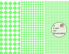 Digital download--Printable green diamonds wafer paper file for cake decorating or cupcake decorating