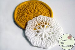 Round lace mold medallion, silicone lace mold for cake decorating, wedding cakes, silicone lace mould, polymer clay mold.  M070