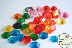 50 hexagon Sugar Jewels, Sugar Gems for cake decorating, hexagons
