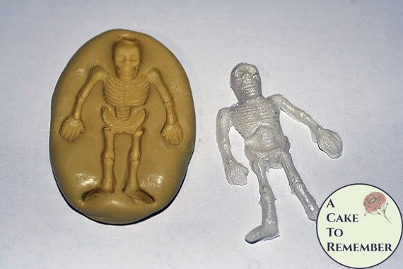 "Silicone Skeleton Mold, 1.75"" tall, for cake decorating, chocolate, hard candy, polymer clay, resin mold. M023"