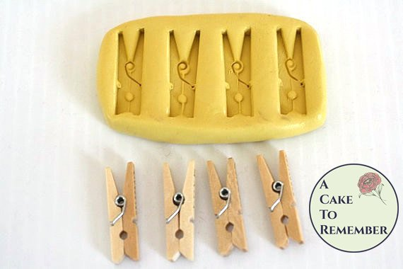 Silicone mini- clothespin Mold for cake decorating or polymer clay M092
