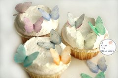 24 small pale pastels butterflies for cake decorating, cupcake decorating, cake pops. Edible butterflies, Wafer paper butterflies, wedding cake toppers
