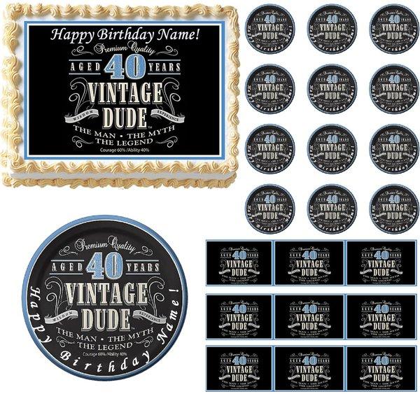 VINTAGE DUDE 40 Edible Cake Topper Image Frosting Sheet ...