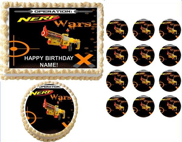 nerf wars gun n strike edible cake topper image frosting sheet