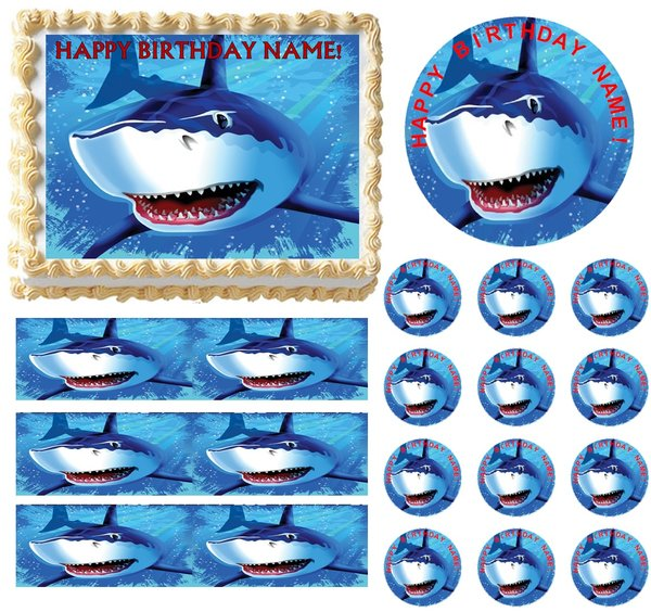 Edible Cake Images Instructions : SHARK PARTY Edible Cake Topper Image Frosting Sheet Cake ...