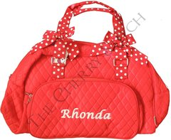Red and White Quilted Duffle Overnight Bag