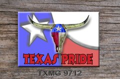 Texas Fridge Magnet with longhorn skull and Texas Pride graphics  #TXMG9712