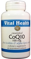 Co-Q-10 100 mg, Emulsified w/Lecithin & Alpha Lipoic Acid 60 caps