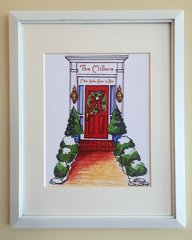 Christmas Red Door Personalized Framed Print