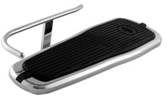 HEEL GUARD, CARL MILES 5010R (RIGHT side), Chrome Turn-Out Style Heel Guard – Harley Davidson 2005 and later Deluxe tapered footboard