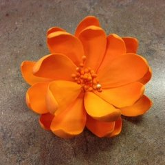 Lotus Edible Gumpaste Flower Orange 3.5 inch