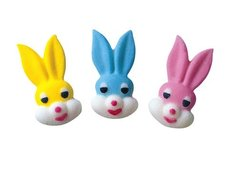 Bunny Rabbit Face Sugar Decoration 6 Piece
