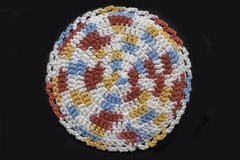 100% Cotton Hand Crocheted Round Pot Holder Hot Pad Doily Trivet Color: CALICO
