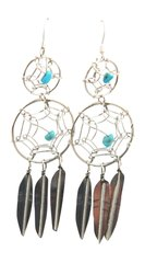 Double Dreamcatcher Earrings with Feathers and Turquoise