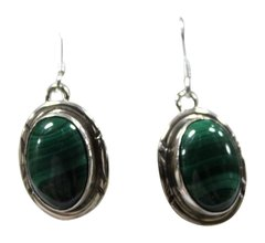 Round SS Malachite Hook Earrings