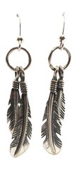 Double Feather Sterling Silver Dangle Earrings
