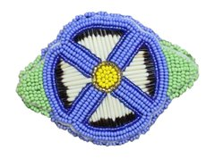Quill & Bead Flower Barrette Blue