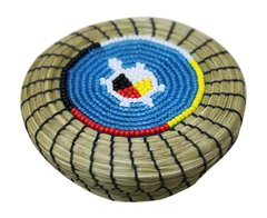Small Sweet Grass Basket w/ Beaded Turtle