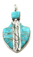 Sterling Silver Arrow Inlay Pendant with Turquoise Stone