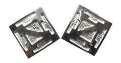 SS Square Etched Post Earrings