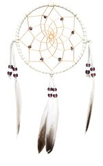 "5"" Dreamcatcher w/ Stones & Beads, Purple with light feathers"