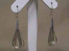 10 Strand Liquid Silver Earrings