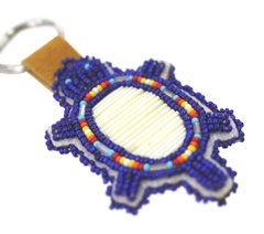 Beaded Turtle Key Chain, Cobalt