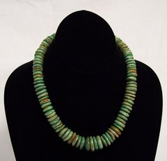 Large Turquoise Disk Bead Necklace