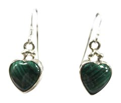 Malachite Heart Hook Earrings