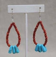 Spiny Oyster & Turquoise Earrings
