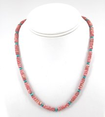 Beaded Single Strand Rhodochrosite and Turquoise Stone Necklace