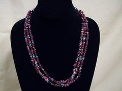 3 Strand Purple Spiny Oyster & Turquoise Necklace