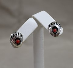 Silver Bear Paw Earrings with Coral