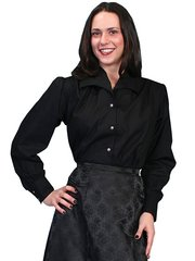 WahMaker Blouse With Wide Lapel Collar