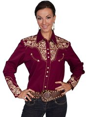 Legends Embroidered Floral Shirt - Burgundy