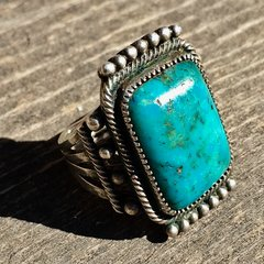 1920s EARLIEST BLUE GEM TURQUOISE SILVER RING