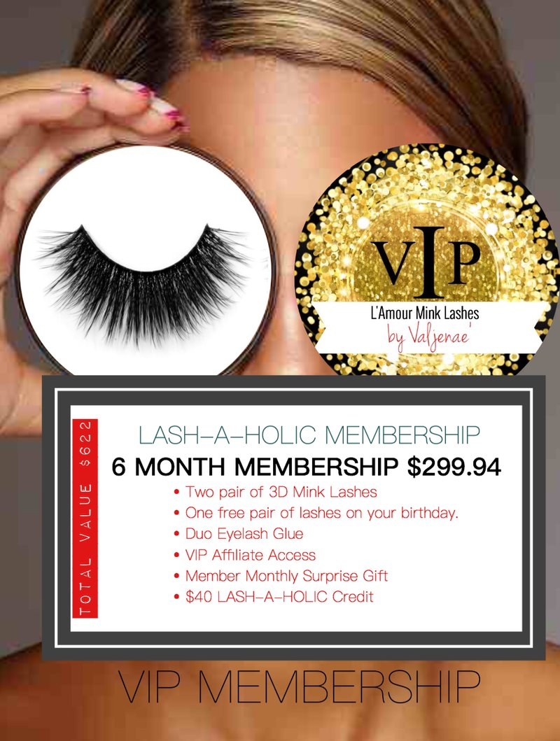 LASH-A-HOLIC - 6 MONTH MEMBERSHIP - 3D Mink Lashes