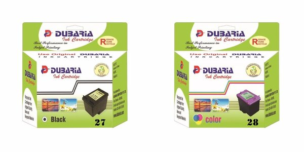 Dubaria 27 Black & 28 Tricolor Combo Ink Cartridge for HP 27 & 28
