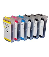Dubaria Empty Refillable Cartridge For HP HP T 690 / T 1100 / T 1200 / 1300 / 2300 Printers Compatible With HP 72 All Six Colors
