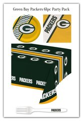 Green Bay Packers 61 Piece Party Pack Paper Plates Napkins Forks and Tablecloth Partyware