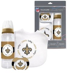 New Orleans Saints Baby BIB, Pacifier, Bottle Gift Set NFL