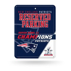 New England Patriots Super Bowl LI Champions Reserved Parking Sign NFL Licensed