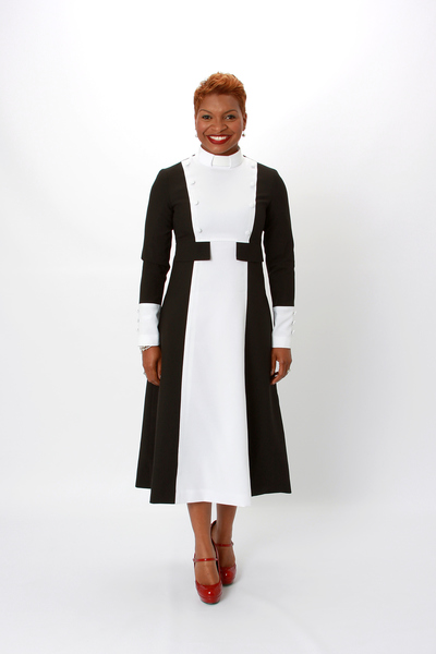 Black And White Clergy Dress Color Block Modern Priestwear