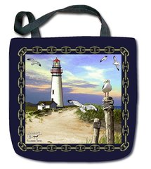 "Tapestry - ""Beach - Lighthouse"" - Tote Bag, 17x17"