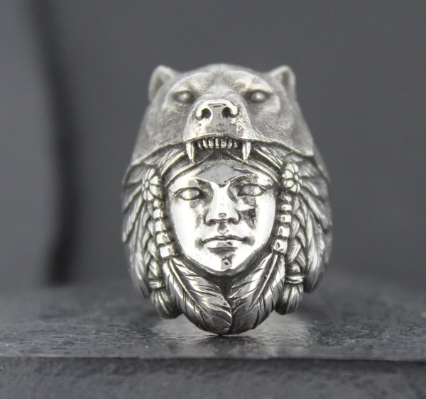 Native American Woman In Wearing Wolf Headdress Alfred