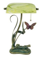 "15.5"" Green Shade Banker Lamp"