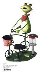 G171 28''H METAL FROG WITH SOLAR LIGHT