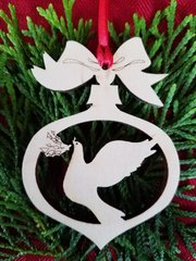 Dove with Olive Branch Christmas Ornament
