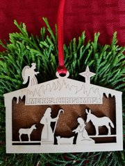 Manger Scene Shadowbox Christmas Ornament