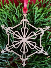 Wood Geometric Snowflake